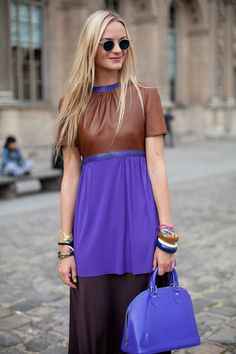 STREET STYLE SPRING 2013: PARIS FASHION WEEK - This Courtin-Clarins blonde has a penchant for a particular shade of purple.
