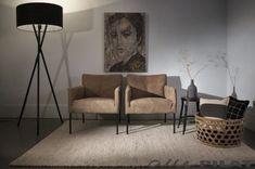 Leren fauteuil Rakker met zwarte of houten poot - Alle Pilat