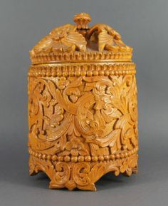 Superb Antique 19th C Norwegian Carved Wooden Treen Tea Caddy