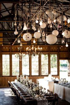 lanterns, chandeliers, globes - lets have em all! beautiful wedding lighting
