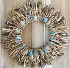 Driftwood Wreath with Aqua, White & Sea Foam Sea Glass - 18 Maine Wreath - Driftwood Decor - Maine Beach Decor - Driftwood Wall Art - Maine Driftwood Wreath with Aqua White & Sea Foam Sea Glass Driftwood Wreath, Driftwood Wall Art, Driftwood Projects, Diy Projects, Seashell Crafts, Beach Crafts, Diy Crafts, Preschool Crafts, New England Style Homes