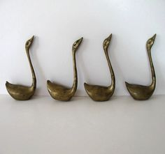 Set of 4 vintage Brass Swans Home Decor Mid by jewelryandthings2