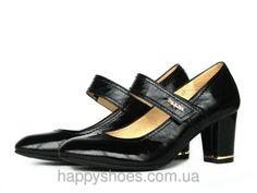 """Черные туфли с лаковым блеском Мэри Джейн с застежкой на липучке: продажа, цена в Запорожье. туфли женские от """"HappyShoes"""" - 255343260 #мэриджейн #весна2016 #обувькожа #туфликожа"""