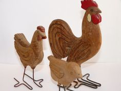 """Vintage Primitive Folk Art Chicken Family , Rooster Hen and Chick Wood Carvings  Hen 6"""" tall"""
