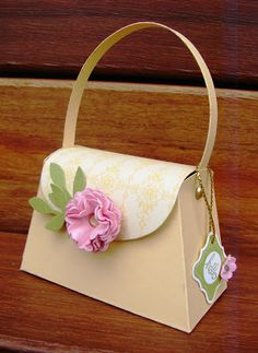 Little handbag / purse using Stampin' Up! Petite Purse Die, Pretty Petites, One Step Bird Punch, Scallop Circle Punch.