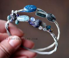 The Blues  blue gemstone guitar string bracelet duo by alizarine, $52.00