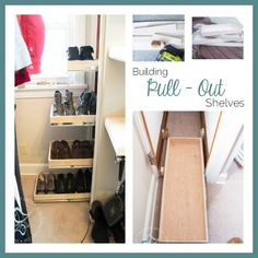 building pullout shelves- shoe closet- purebond pledge- DIY home projects- www.designeddecor.com