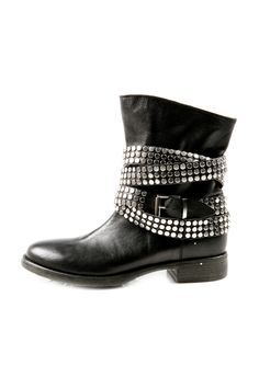 Stud Strap Leather Booties