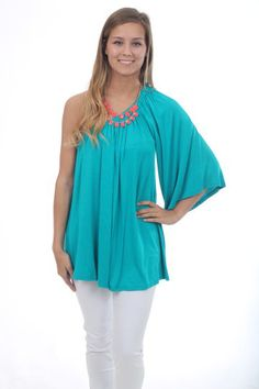 Hollywood Top, teal $38 www.themintjulepboutique.com