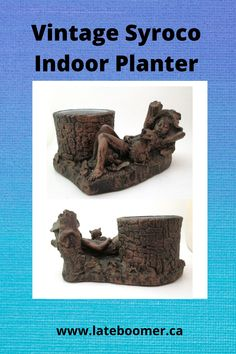 fabulous and unique vintage 1970s Syroco planter .. heavy cast composite resin indoor plant pot with lovely design of sleeping child beside a tree stump with cat .. burnished copper tone colours and lovely detailed design .. plastic insert and soft felted bottom -- Late Boomer Vintage -- #vintagehome #Syroco #bohodecor #indoorplanter