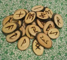Runes by magicalcauldron on Etsy Hickory Wood, Altar Cloth, Gods And Goddesses, Runes, I Am Awesome, Symbols, Fan Art, Handmade, Etsy