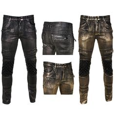 Krome Mens Skinny Fit Coated Cargo Pocket Moto Jeans from
