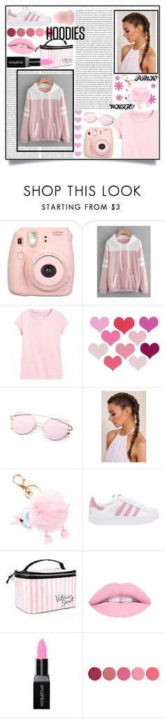 """HOODIES"" by beauty-16 ❤ liked on Polyvore featuring Fujifilm, adidas Originals, Victoria's Secret, Smashbox, Kjaer Weis, white, Pink and hoodie"