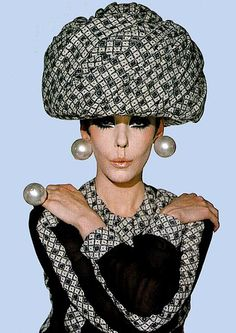 model Peggy Moffat 1960s fashion. Now that is what I call a hat !