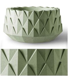 Kornegay Agave Series  Landscape Containers    Round precast concrete planter with stylized surface pattern.