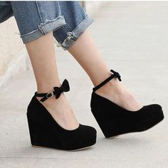 6d5f7b62e097 MCCKLE Women High Heels Shoes Plus Size Platform Wedges Female Pumps  Elegant Flock Buckle Bowtie Ankle