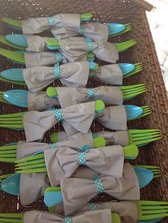 Baby shower utensils.. Baby boy bow tie #fbdinnerclub