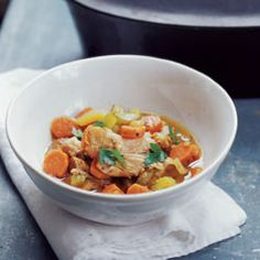 Chicken Stew by Saveur. This chicken stew recipe uses chicken thighs instead of stewing chickens, for a delicious, easy to serve result. Stew Chicken Recipe, Chicken Flavors, Stewed Chicken, Saveur Recipes, Paleo Recipes, Chicken Thigh Stew, Chicken Thighs, Paleo Soup, Bowl Of Soup