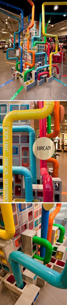 the idea of maps that all interlink our lives, the fun directions we choose along the way. using besser bricks and pipes to create bright pathways.: