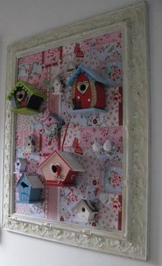 birdhouse memo board and jewellery storage picture , cute shabby chic storage for girls bedrooms Vogelhuisjes in lijst