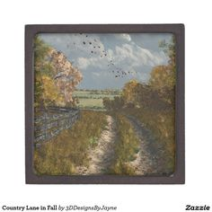Country Lane in Fall Keepsake Box