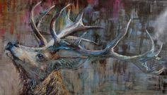 Deer, cm, oil on canvas Science And Nature, Oil On Canvas, Deer, Moose Art, Wildlife, Painting, Animals, Animales, Animaux