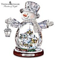 Thomas Kinkade Snowman with Glowing Village & Moving Train