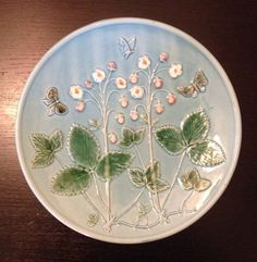 "11"" Vintage Zell Majolica Plate Butterfly 250 Z Nice Germany German Collectible 