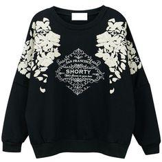 Vintage Print Pullover Sweatshirt (50 BRL) ❤ liked on Polyvore featuring tops, hoodies, sweatshirts, patterned tops, pullover sweatshirt, vintage sweatshirts, sweater pullover and vintage tops