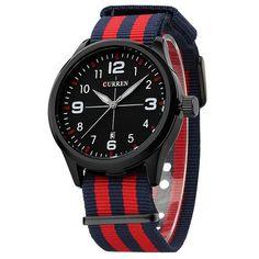 Curren Men's Casual Sport Quartz Watch Mens Watches Top Brand Luxury Quartz-Watch Nylon Strap Military Watch Wrist Male Clock