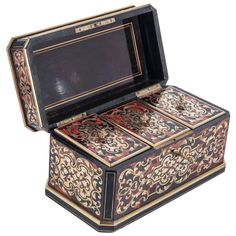 Nice Boulle Inlaid, Monogrammed Tea Caddy, French, circa 1860 | From a unique collection of antique and modern boxes at https://www.1stdibs.com/furniture/decorative-objects/boxes/