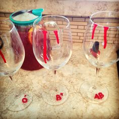 True blood inspired glasses made with red nail polish