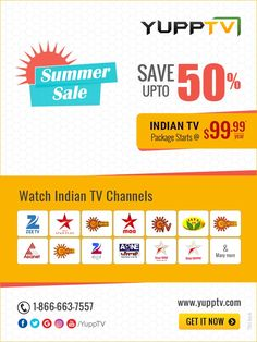 YuppTV Summer Sale - Save upto 50% off on Indian TV Channels in USA. Hurry up subscribe now Sun Tv Shows, Start Tv, Live Tv Free, News Channels, Summer Sale, Telugu, Indian, Usa, U.s. States