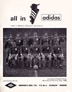 All In Adidas football boots - Liverpool - 1965
