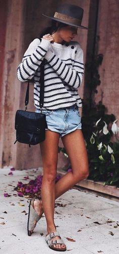 #winter #fashion //  Black Hat // Striped Knit // Black Shoulder Bag // Denim Shirt