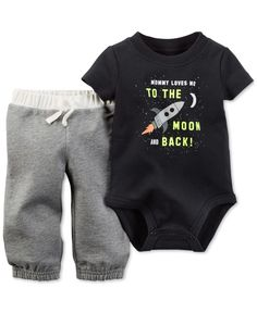 Carter's Baby Boys' 2-Piece Short-Sleeve Moon and Back Bodysuit & Pants Set