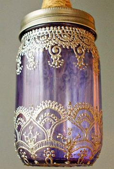 DIY Gold henna design on purple mason jars Mason Jars, Mason Jar Lanterns, Bottles And Jars, Mason Jar Crafts, Bottle Crafts, Candle Lanterns, Glass Bottles, Perfume Bottles, Fest Des Fastenbrechens