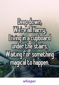 """""""Deep down, We're all Harry, Living in a cupboard under the stairs, Waiting . - Harry Potter - The Stylish Quotes Harry Potter Quotes, Harry Potter Love, Harry Potter Universal, Harry Potter Fandom, Harry Potter World, Hagrid Quotes, Hogwarts Brief, Hogwarts Train, Hogwarts Letter"""