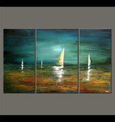 "Velero pintura paisaje marino abstracto Original pintura de acrílico turquesa, turquesa, verde por Osnat - confeccionar - 60 ""x Seascape Paintings, Landscape Paintings, Art Paintings, Multi Canvas Painting, Acrylic Canvas, Abstract Landscape, Abstract Art, Sailboat Painting, Art Moderne"