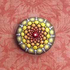 Jewel Drop Mandala Painted Stone- Sacred Geometry sunshine