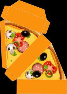 Cajita porción de pizza.