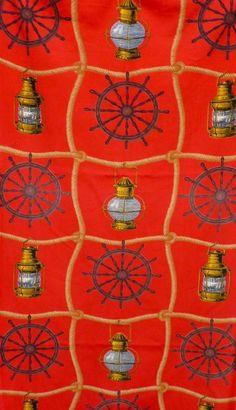 """Tissu """"Cap Horn"""" (Romanex, Boussac) - au rez-de-chaussée de la Grande-Rivière  #tissu #vintage #rideaux"""