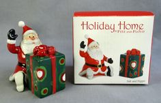 Fitz and Floyd Salt & Pepper Shakers Santa Claus with Gift That's a Wrap 2007