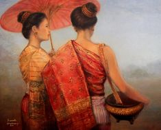 Viengchan And Luang Prabang Canvas Print / Canvas Art by Sompaseuth Chounlamany Stretched Canvas Prints, Framed Prints, Poster Prints, Laos Culture, Luang Prabang, Thai Art, Thing 1, Beautiful Paintings, Traditional Art