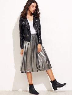 Silver Zipper Back Pleated Skirt -SheIn(Sheinside)