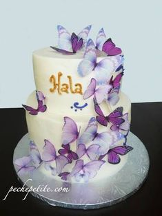 Marvelous Picture of Butterfly Birthday Cakes Butterfly Birthday Cakes Custom Butterfly Cakes Peche Petite Elegant Birthday Cakes, Custom Birthday Cakes, 1st Birthday Cakes, Custom Cakes, 21st Birthday, Birthday Ideas, Purple Butterfly Cake, Butterfly Birthday Cakes, Butterfly Cakes