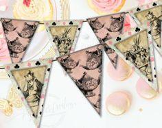 Alice in Wonderland Banner - Printable - Bridal Tea Party - Instant Download