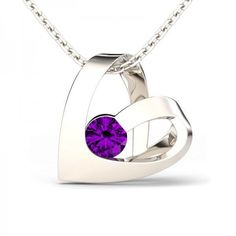 Jeulia Design Romantic Heart Design Round Cut Amethyst Rhodium Plating... ($80) ❤ liked on Polyvore featuring jewelry, heart shaped pendant necklace, heart pendant necklace, rhodium plated jewelry, sterling silver jewelry and heart shaped jewelry