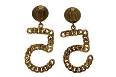 Chanel No.5 Earrings Iconic Gold Chain & Clip on Back