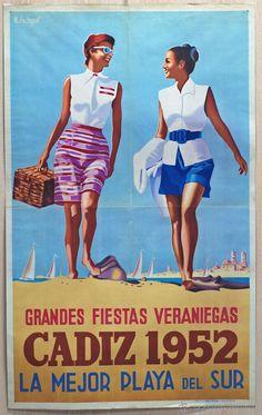 Cartel Cádiz Grandes Fiestas Veraniegas 1952 La Mejor Playa del Mundo Dibujado B de Hoyos Vintage Travel Posters, Vintage Ads, Cadiz Spain, Sitges, Advertising Campaign, Ad Design, Summer Travel, Pin Up, Swimwear